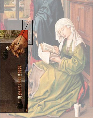 Detail of St. Joseph's beads, from The Magdalen Reading by Jan Van Eyck